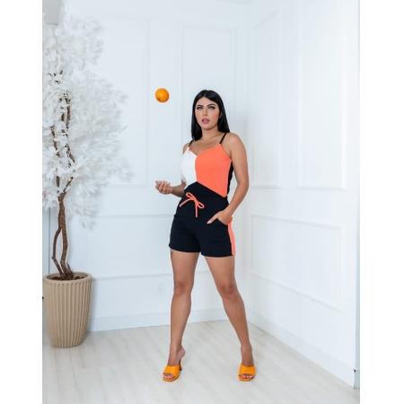 Conjunto De Shorts E Blusa De Crepe Com Elastano