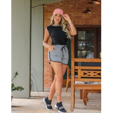 Conjunto de Shorts e Blusa de Moletinho Stech Cinza