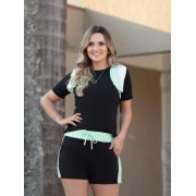 Conjunto De Shorts e Blusa Faixa de Moletinho Viscose  verde água