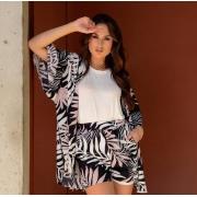 Conjunto de Viscose estampado Kimono e shorts