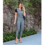 Conjunto Feminino De Blusa E Calça Cinza Escuro Malha Crepe