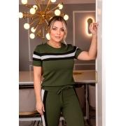 Conjunto Feminino De Blusa E Calça De Crepe Com Elastano Verde
