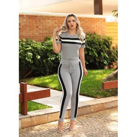 Conjunto Feminino de blusa e calça de malha crepe Cinza Claro
