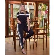 Conjunto Feminino de blusa e calça de malha crepe  preto