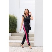 Conjunto Feminino De Blusa E Calça em Linho de Ombreira Muscle