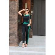 Conjunto Feminino De Calça E Blusa De Malha Canelada - Verde Bandeira