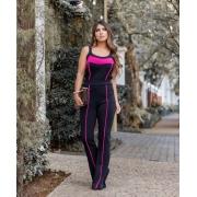 Conjunto Feminino De Calça Flare e Blusa De Malha Crepe Pink