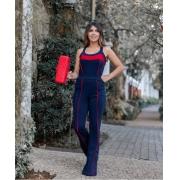 Conjunto Feminino De Calça Flare e Blusa De Malha Crepe Vermelho