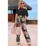Conjunto Feminino  De Calça Pantalona estampada e Blusa