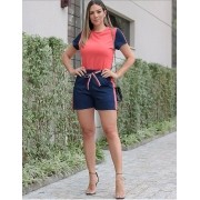 Conjunto Feminino De Shorts e Blusa de Linho
