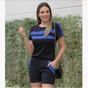 Conjunto Feminino De Shorts E Blusa De moletinho com Faixa Azul