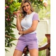 Conjunto Feminino De Shorts E Blusa De Malha Canelada
