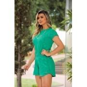 Conjunto Feminino De Shorts E Blusa De Moletinho 3D