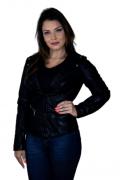 Jaqueta Feminina De Couro Croco Black
