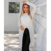 Maxi Blusa com Fenda Frontal  Branca