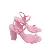 Sandália Nobuck Salto Bloco Tiras Baby Pink AREZZO