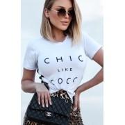T-Shirt Chic  De Malha Com Guippir