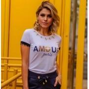 T-Shirt De Malha Com Aplicação