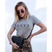 T-Shirt Gucci Cinza De Malha Com Guippir