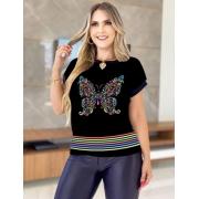 T-Shirt Verão Estampas de Borboleta
