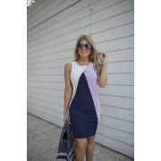 Vestido Bicolor  Feminino Midi de Moletinho