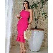 Vestido Longo Pink de Malha Canelada