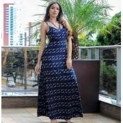 Vestido Longo de Viscose Azul Marinho