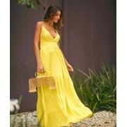 Vestido longo de viscose soltinho amarelo