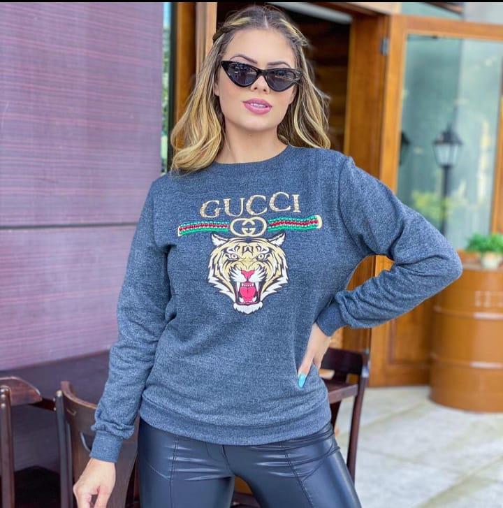 Blusa de Moletom feminino com estampa  Gucci