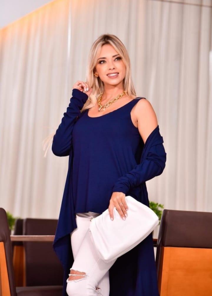 Blusa de Viscolycra Duas Peças Azul Marinho