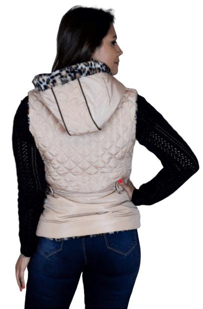 Colete feminino com capuz
