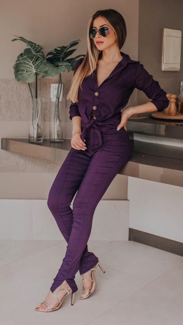 Conjunto Feminino  de bengaline de calça e blusa de Manga três quartos