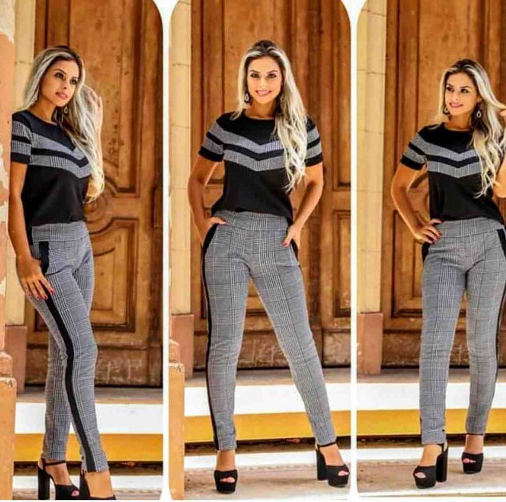 Conjunto Feminino de Calça e Bluza Xadrez