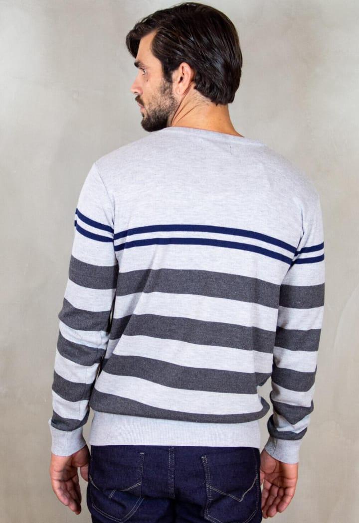 Suéter Masculino Listrado gola em V