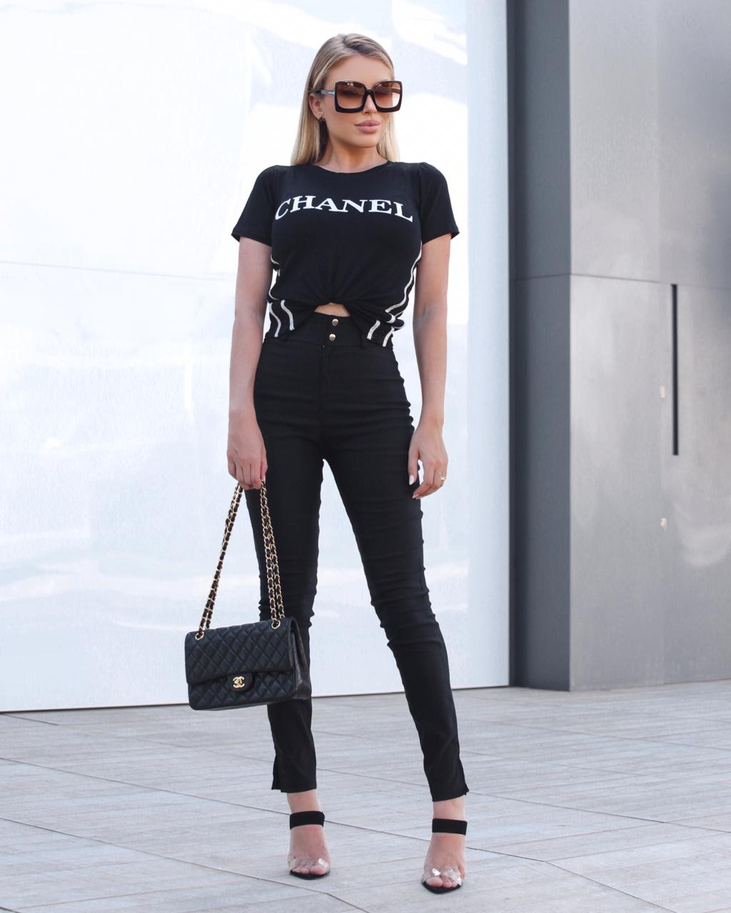 T-Shirt Chanel De Malha Com Guippir