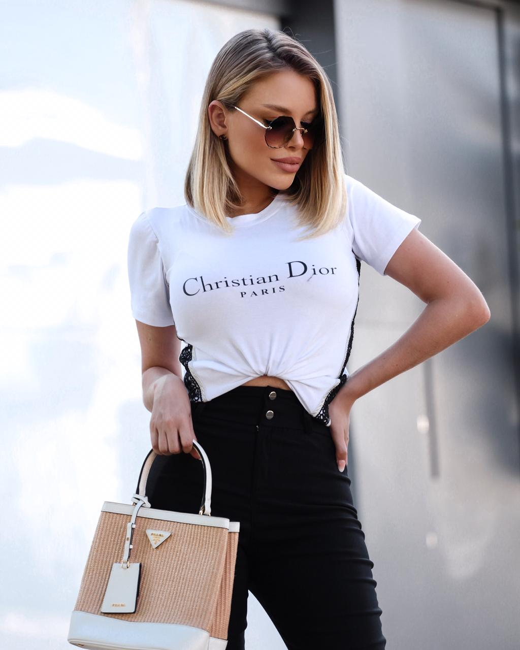 T-Shirt Paris De Malha Com Guippir
