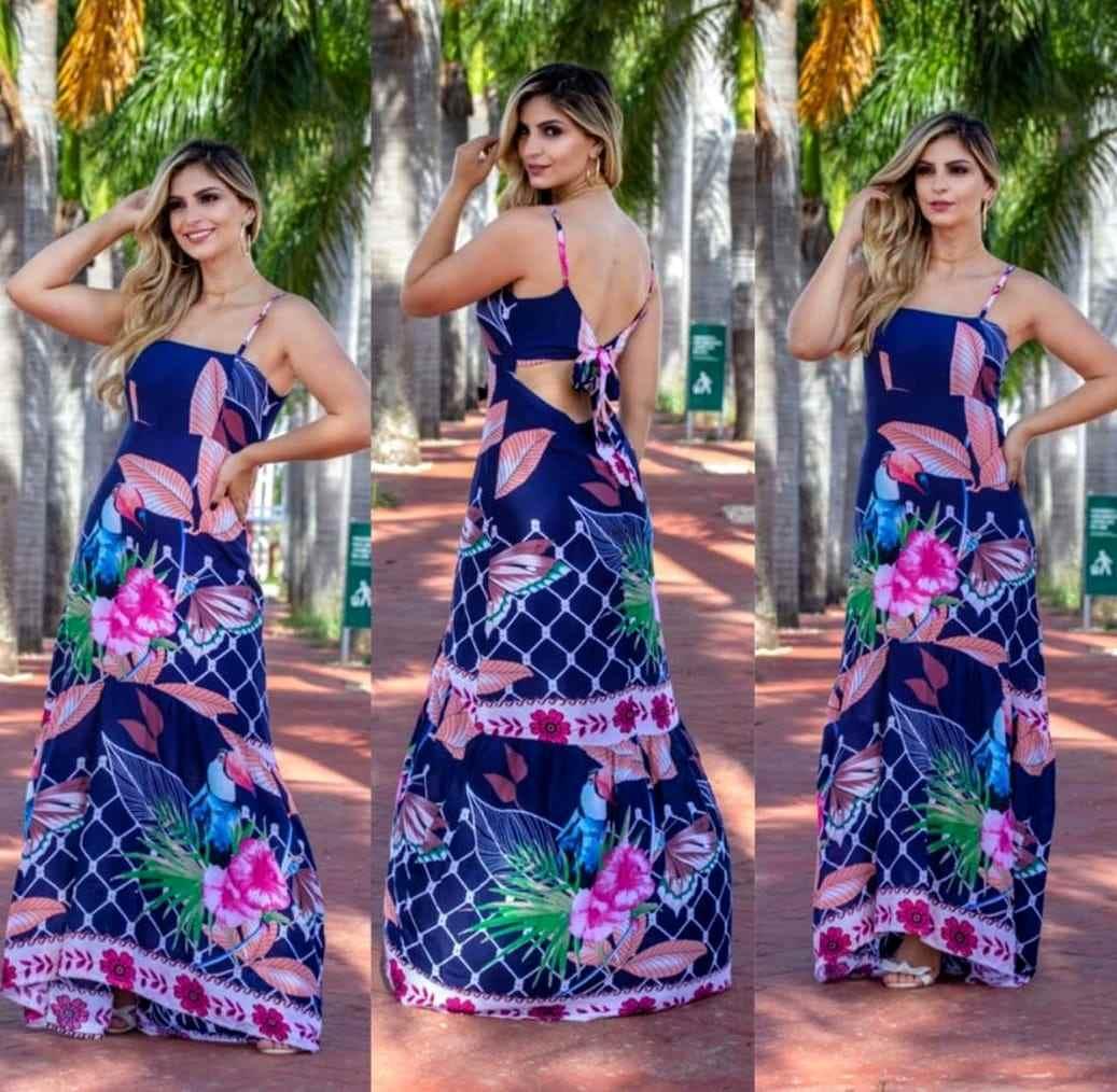 Vestido de viscose Floral Lilás