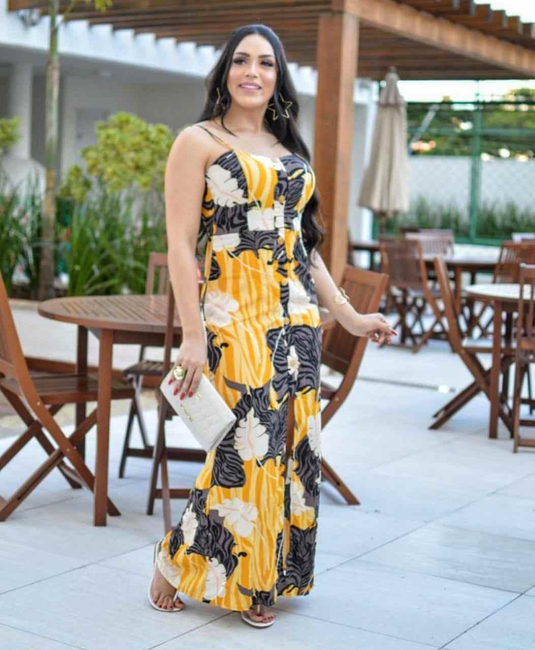 Vestido de viscose Floral Praiano