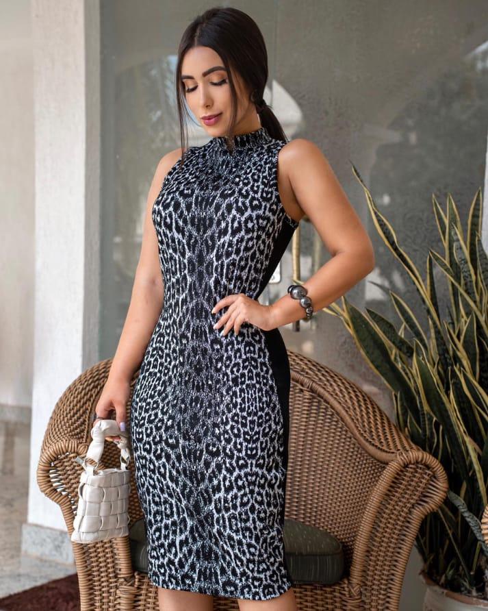 Vestido Feminino Animal Print Onça