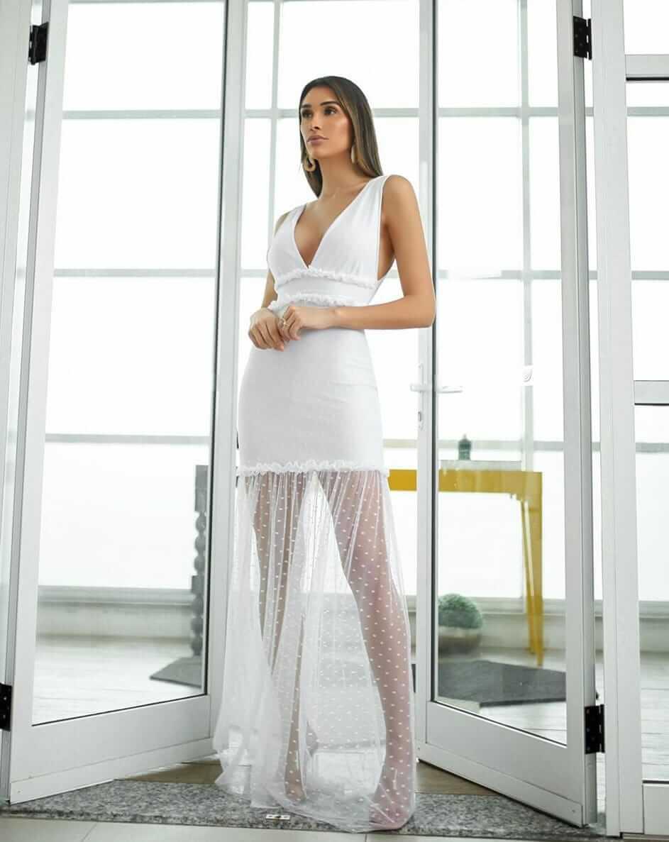 Vestido Longo de Tule  com forro Suplex