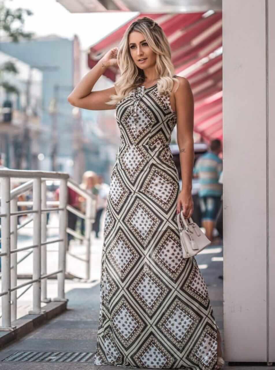 Vestido longo de viscose estampado