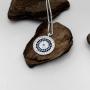Colar Medalha Olho Grego Cravejado Prata 925