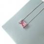 Colar Pedra Retangular Rosa Prata 925