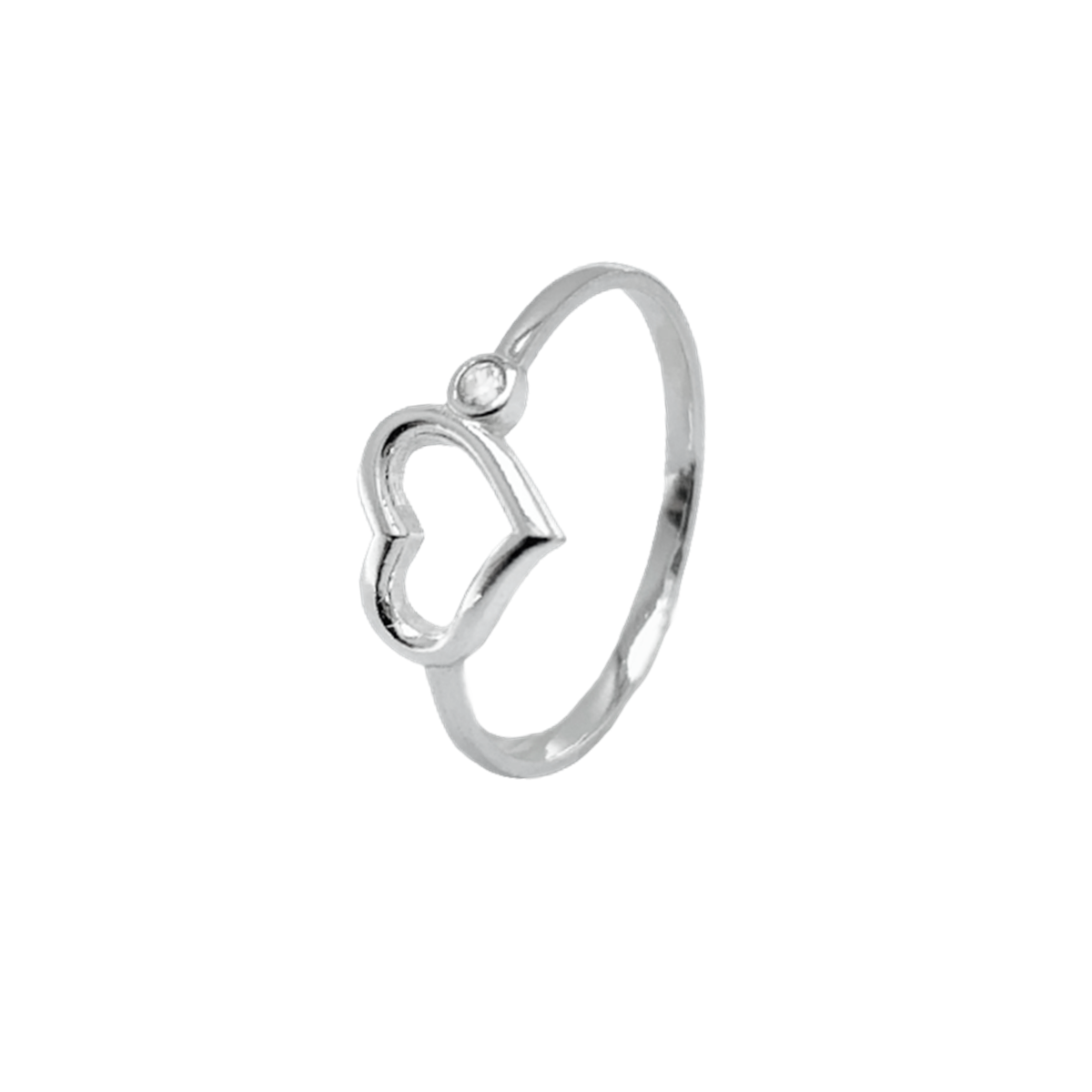 Anel Coração com Pedra Zircônia Prata 925