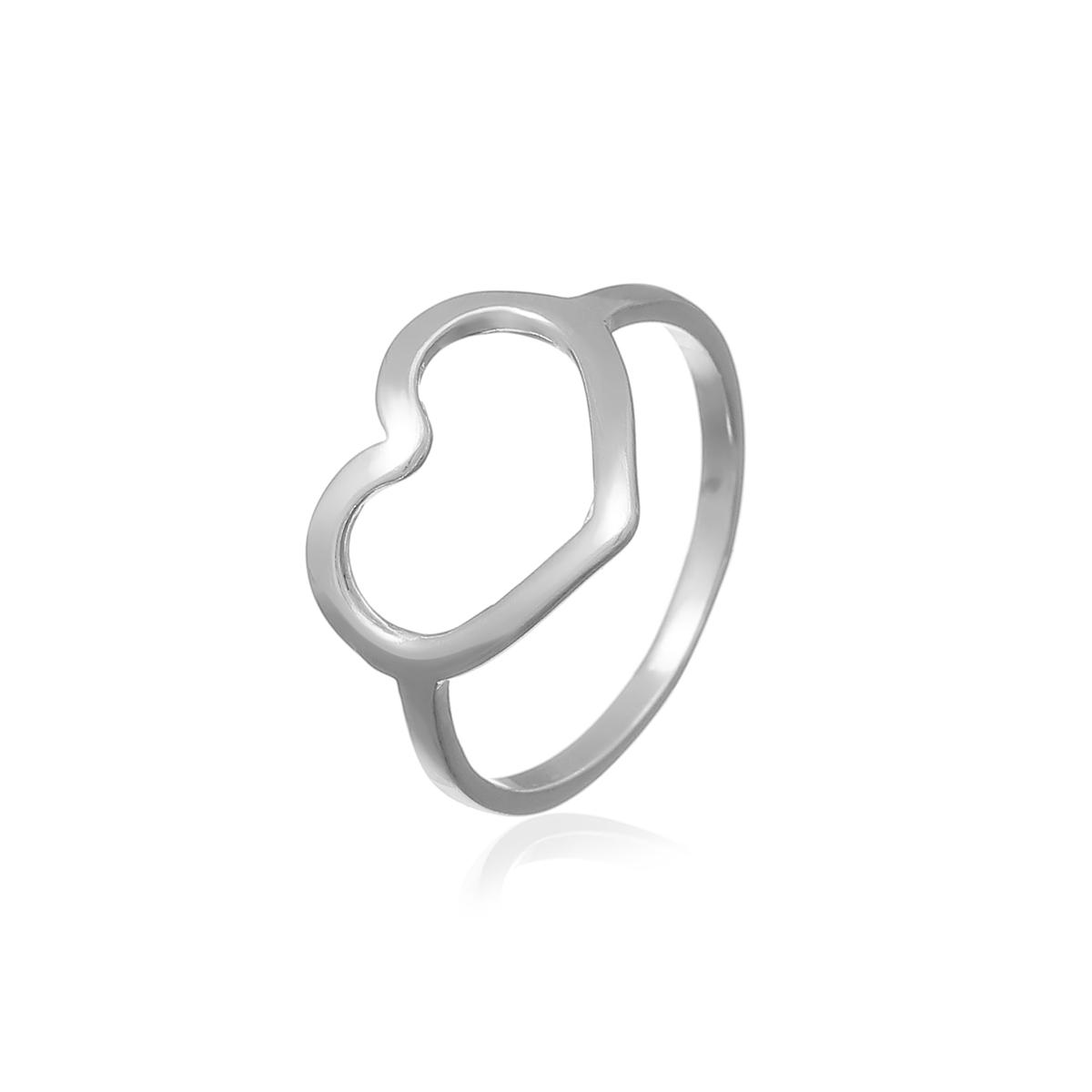 Anel Coração (02) Prata 925