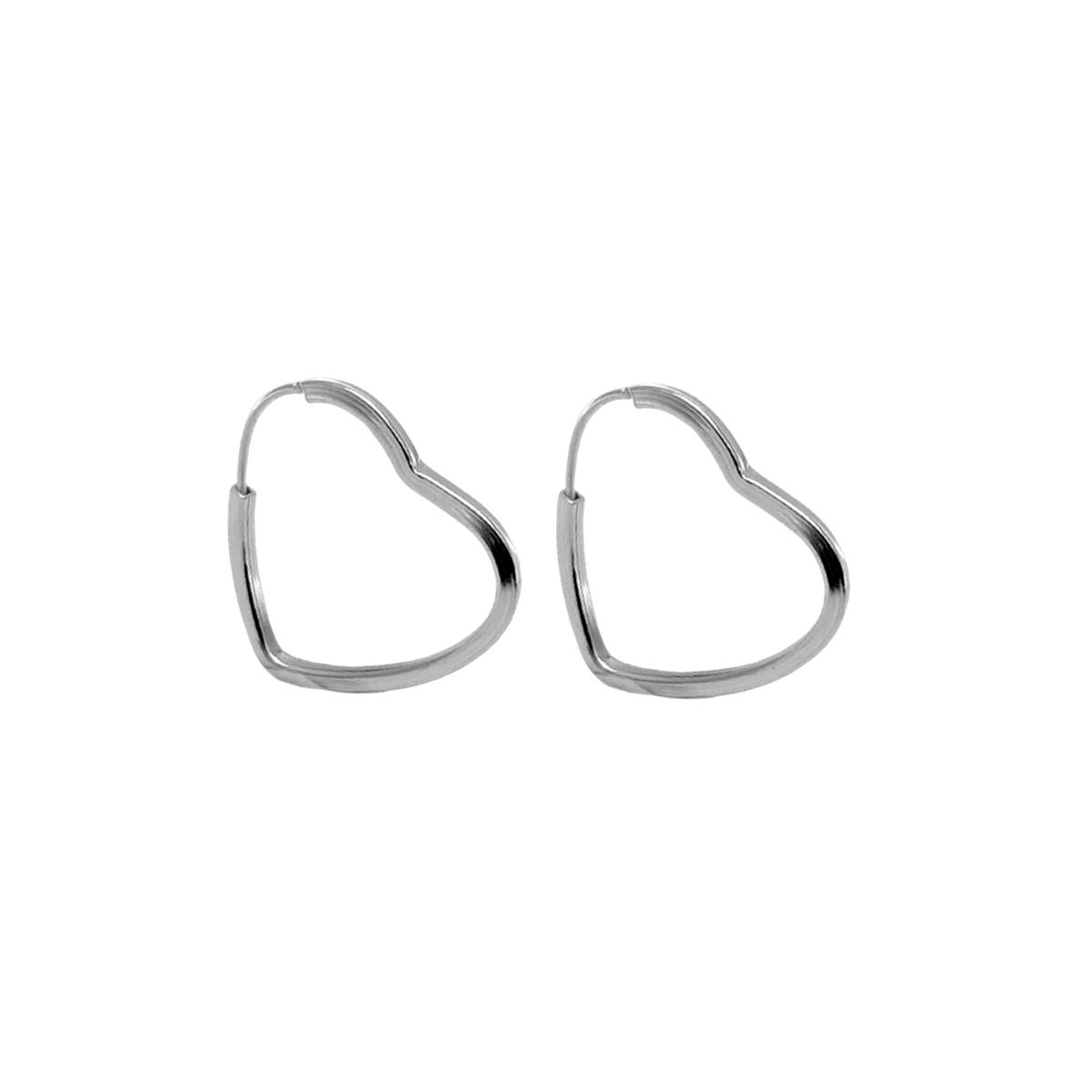 Brinco Argola Pequena Coração Lisa Prata 925