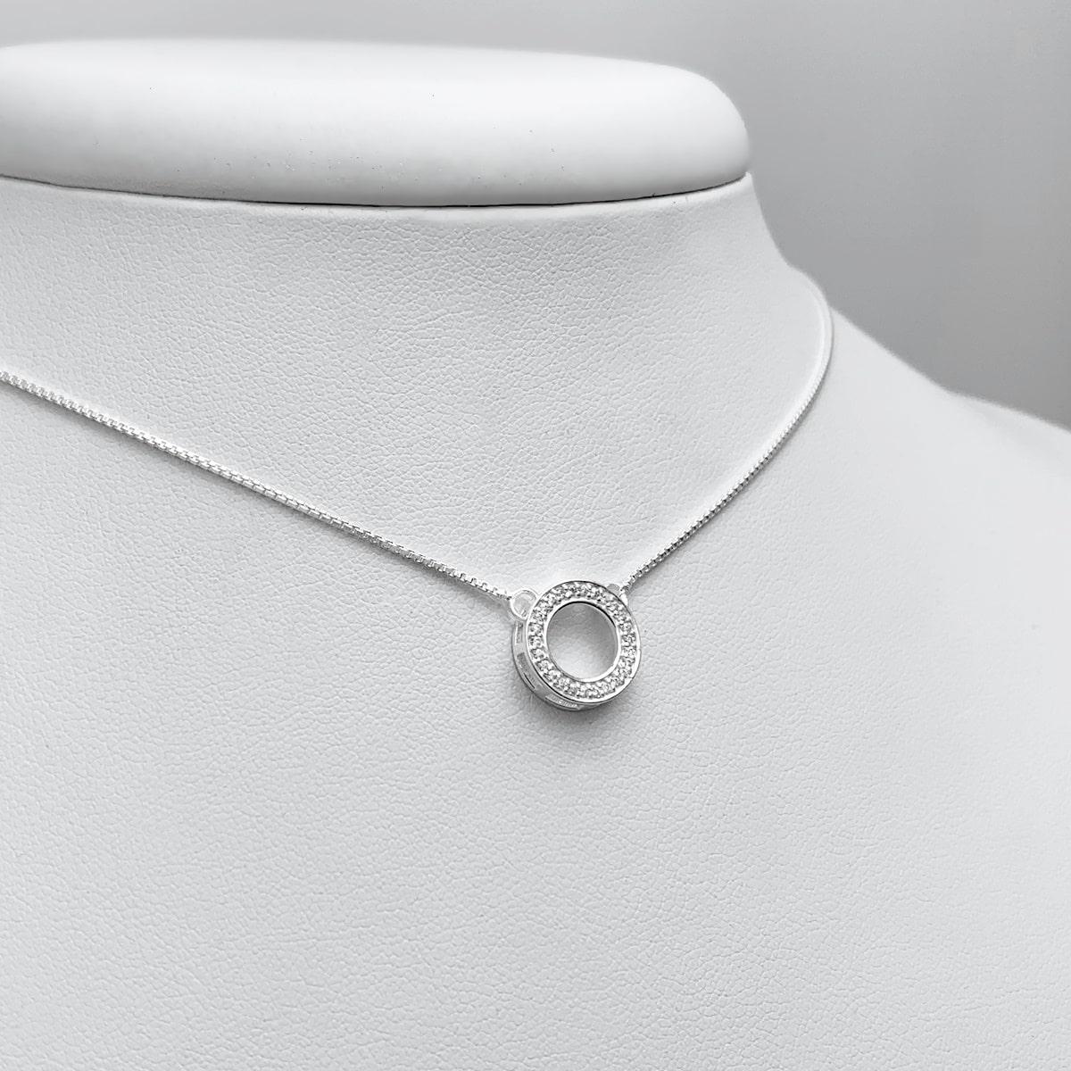 Colar Círculo Cravejado Prata 925, Colar de Prata