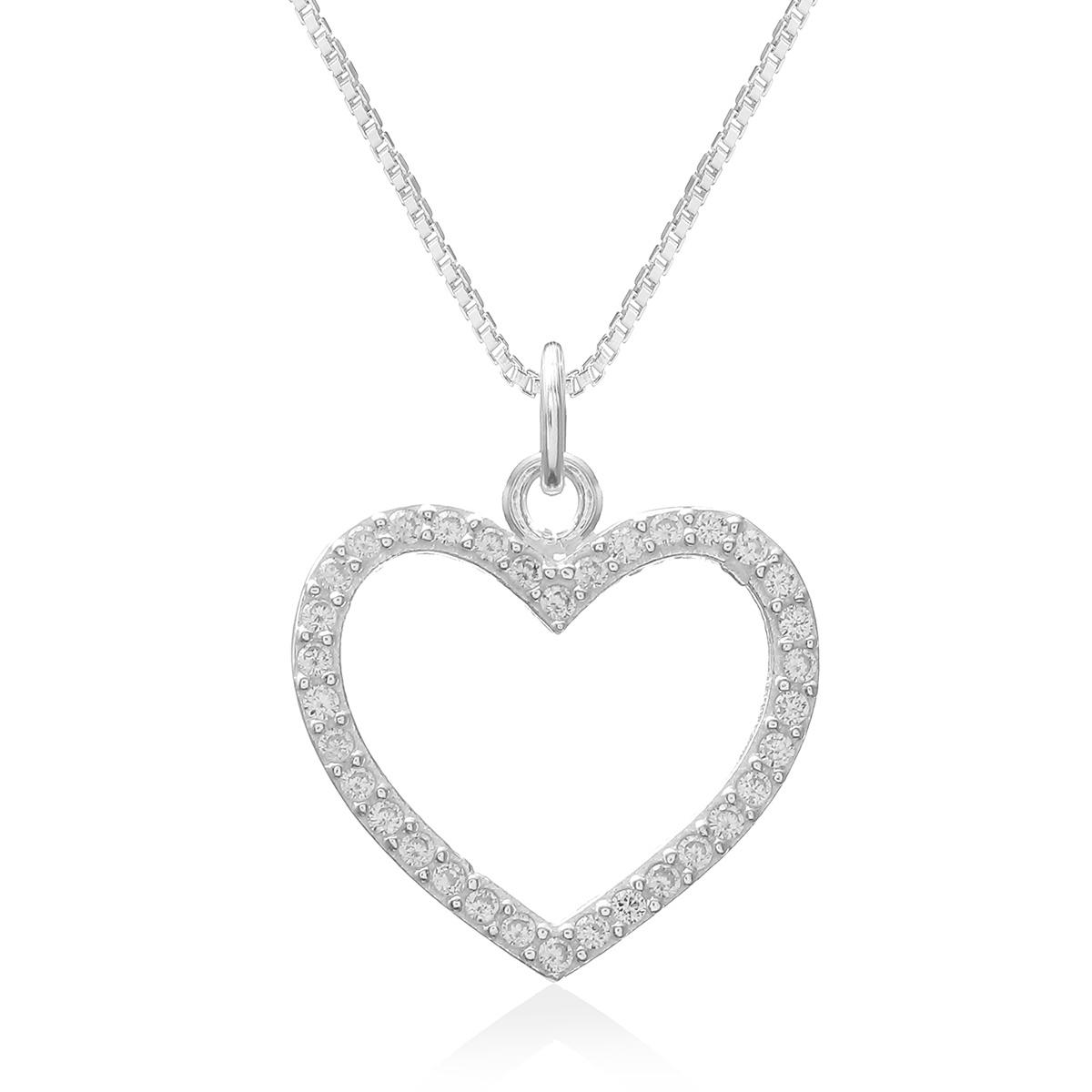 Colar Coração Branco Prata 925