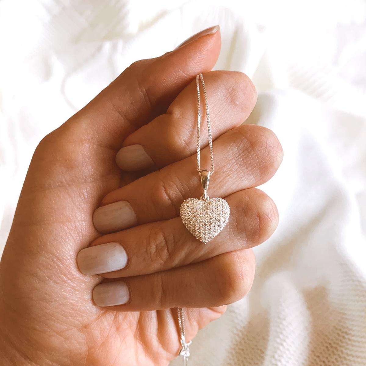 Colar Coração Cravejado Pêndulo Prata 925