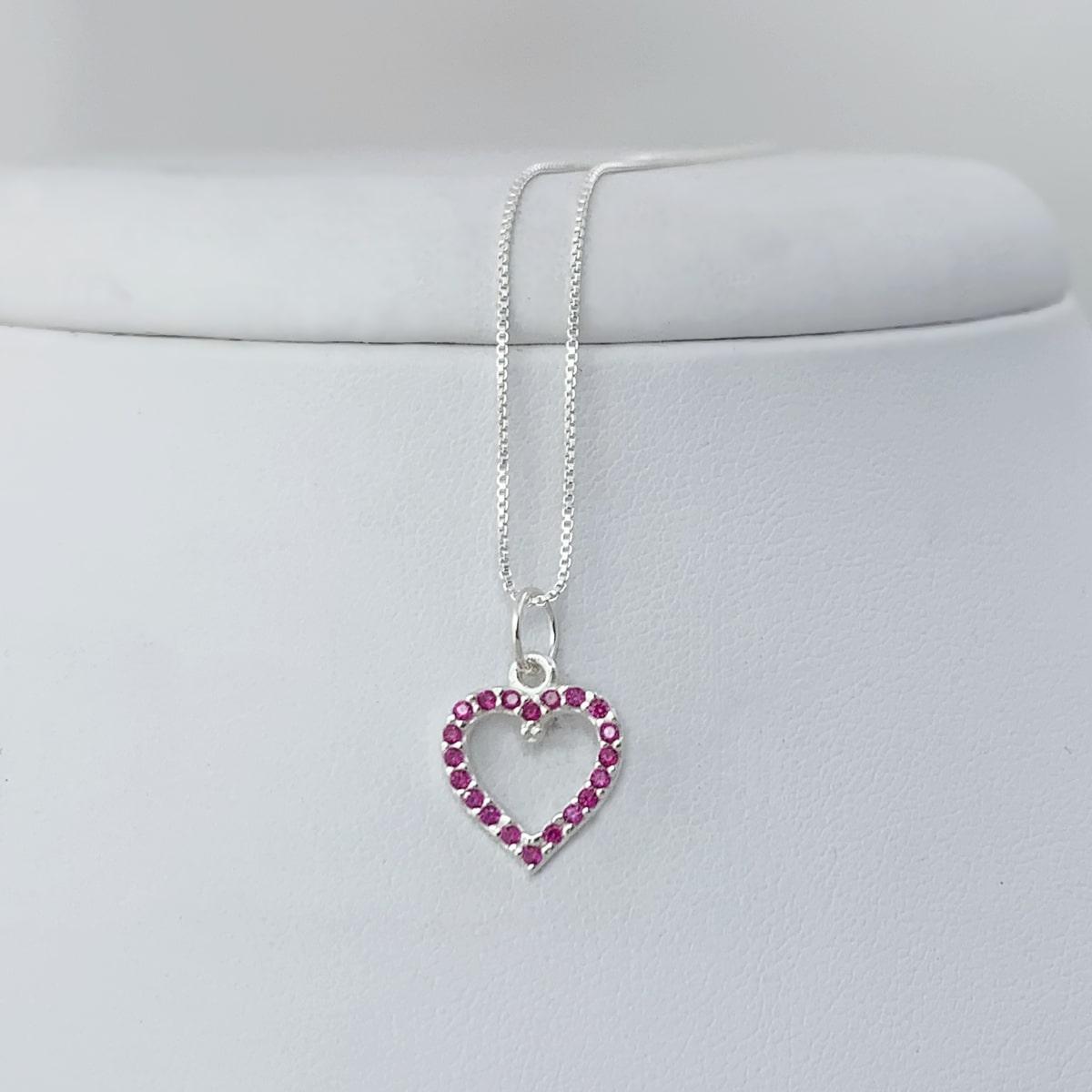 Colar Coração Rosa e Branco Prata 925
